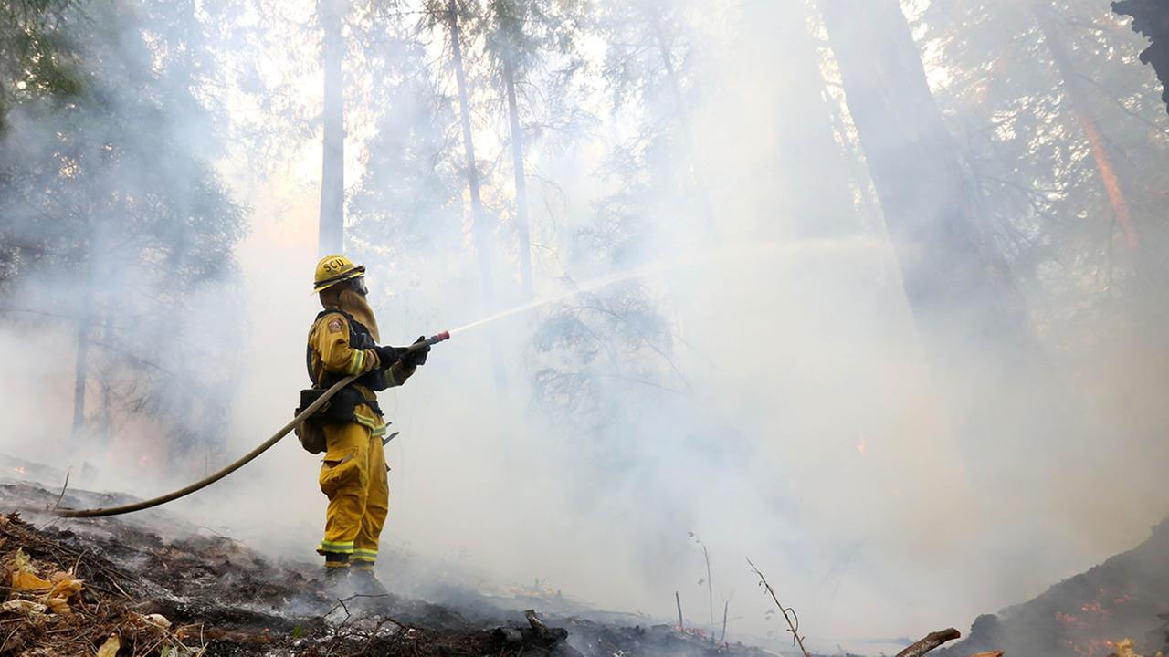 A firefighter puts water on flames approaching a containment line, while fighting the King fire near Fresh Pond.(AP Photo/Rich Pedroncelli)