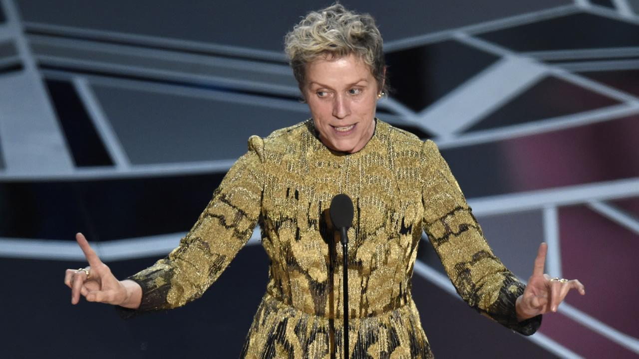Frances McDormand accepts the award for Best Actress for Three Billboards Outside Ebbing, Missouri at the Oscars on Sunday, March 4, 2018, at the Dolby Theatre in Los Angeles.
