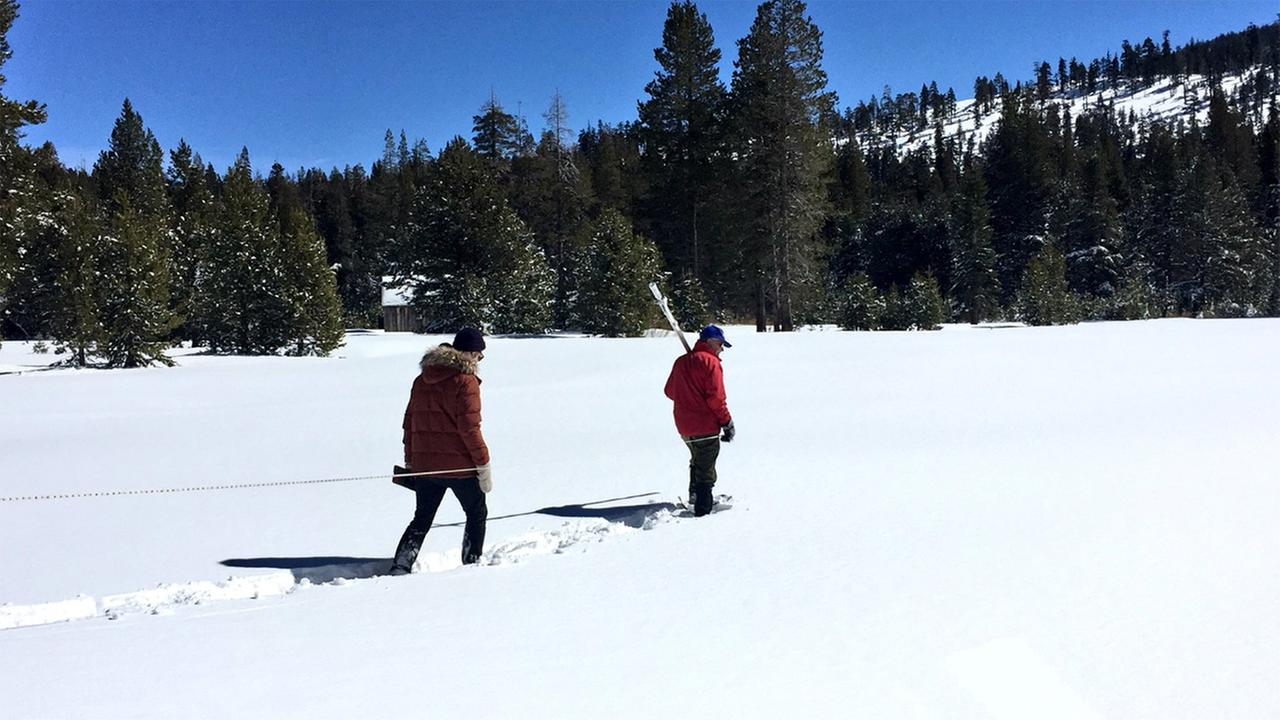 Snow survey taken in Twin Bridges, California, on March 5, 2018.