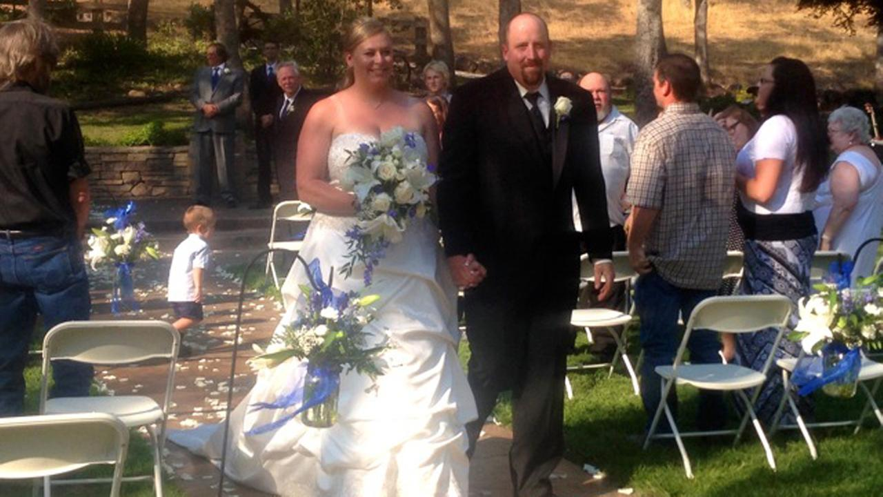 A Northern California couple who lost nearly everything in the devastating Boles fire in Weed have tied the knot. (TBS Ranch)