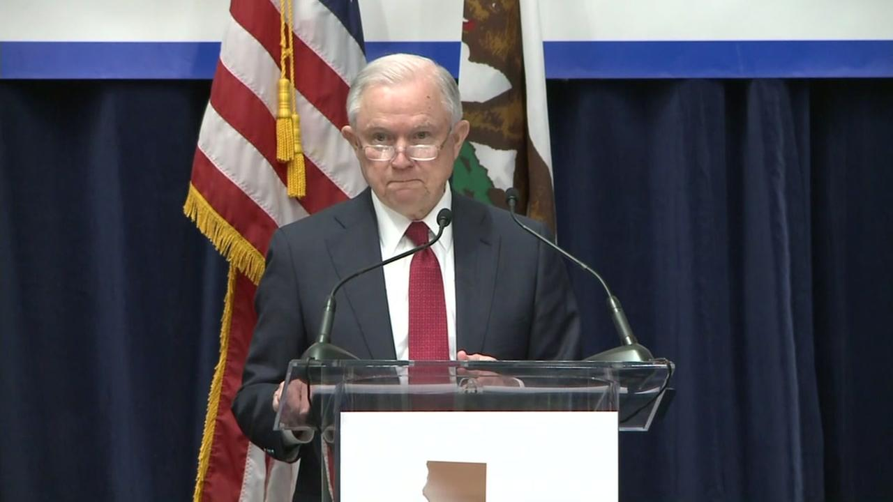 U.S. Attorney General Jeff Sessions talked to law enforcement in Sacramento, Calif. on Wednesday, March 7, 2018.