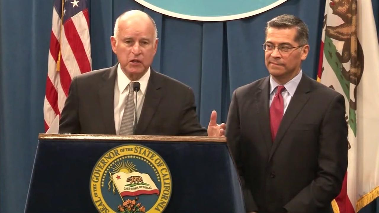 Governor Jerry Brown speaks at a news conference in Sacramento, Calif. on Wednesday, March 7, 2018.