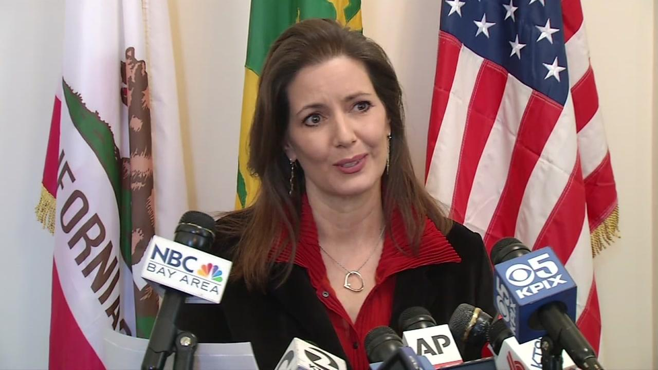 Oakland, Calif. Mayor Libby Schaaf speaks during a press conference at City Hall on Wednesday, March 7, 2018.