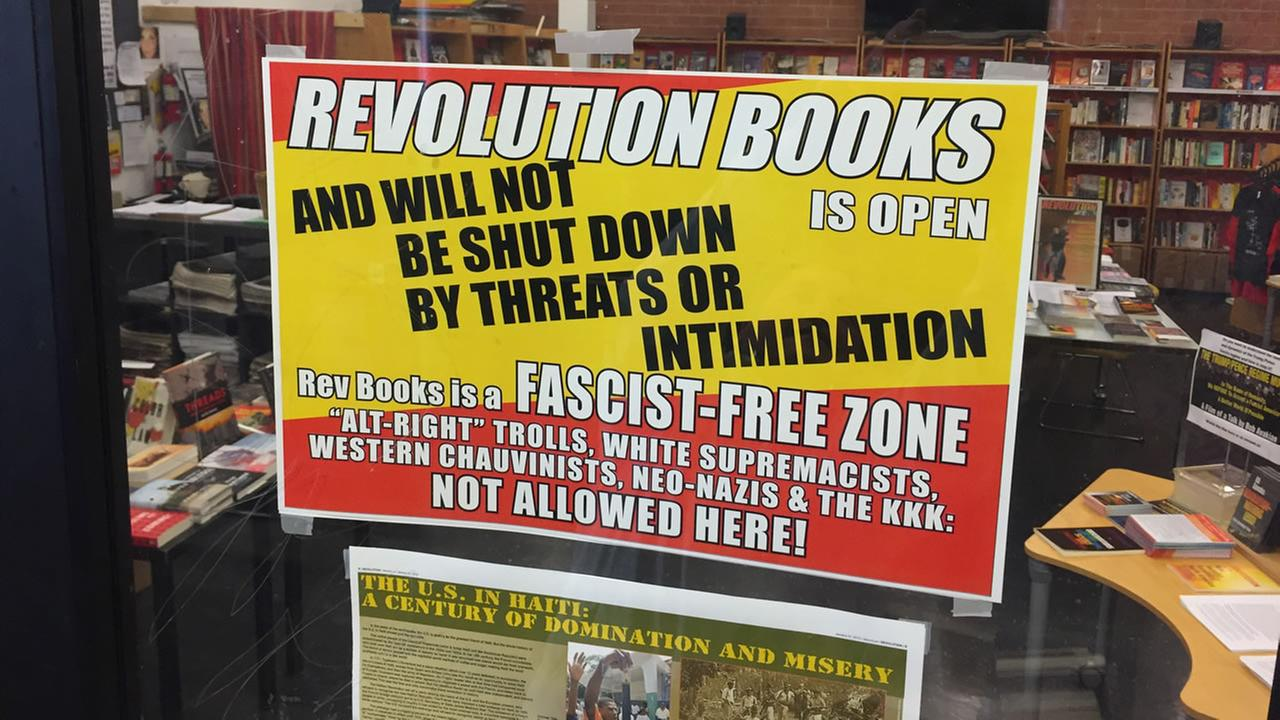 Revolution Books store windows appear in Berkeley, Calif. on Thursday, March 8, 2018.