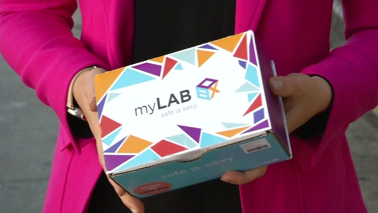 Lora Ivanova  holds a MyLab Box in this photo taken Thursday, March 8, 2018 in San Francisco.