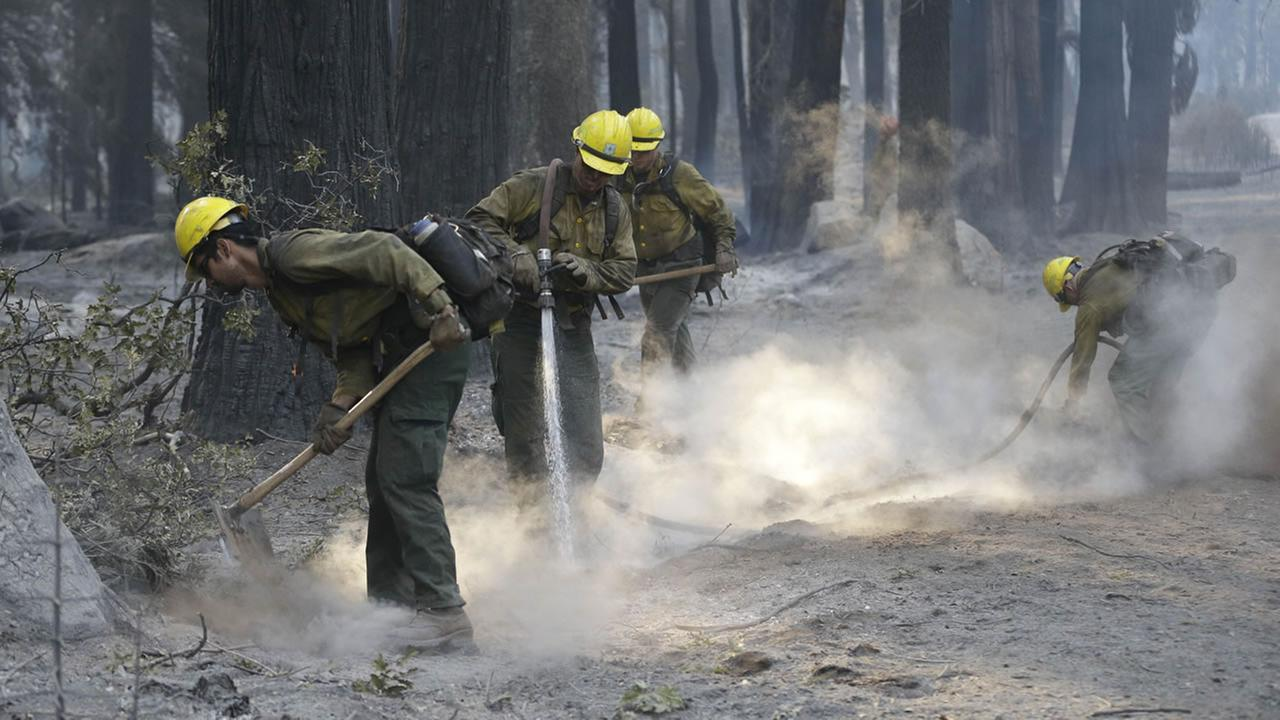 Firefighters pours clean up hot spots of the King fire.