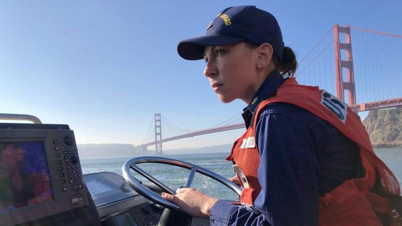 Coast Guard Petty Officer 1st Class Krystyna Duffy becomes the fourth woman to be awarded the rank of surfman, which allow her to navigate in extreme weather conditions.