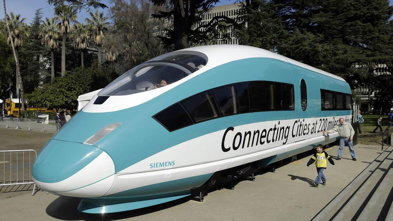 In this Feb. 26, 2015, photo, a full-scale mockup of a high-speed train is displayed at the Capitol in Sacramento, Calif.