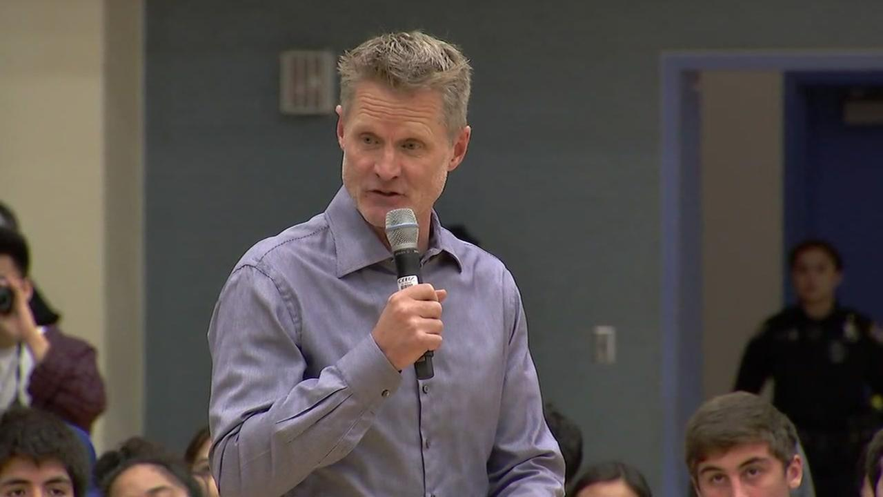 Steve Kerr speaks at Newark Memorial High School in Newark, Calif. about gun control on Monday, March 3, 2018.