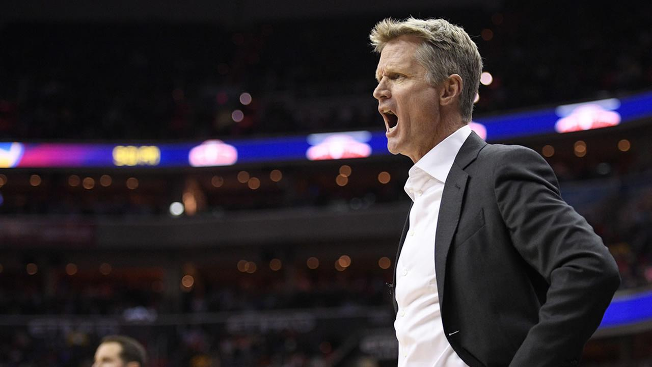 Warriors coach Steve Kerr gestures on the sideline during an NBA basketball game against the San Antonio Spurs, Saturday, Feb. 10, 2018, in Oakland, Calif.