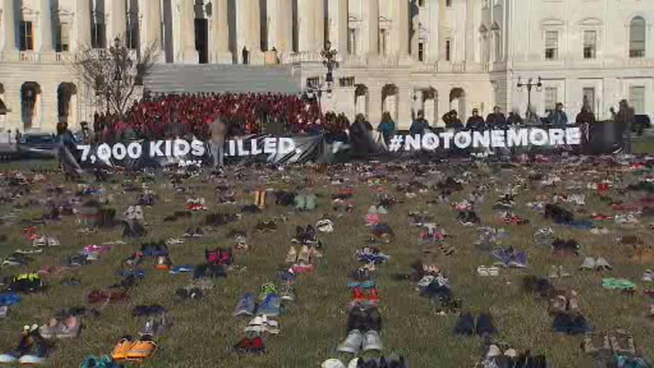 This image shows thousands of shoes on display outside U.S. Capitol in Washington, D.C. on March 13, 2018.