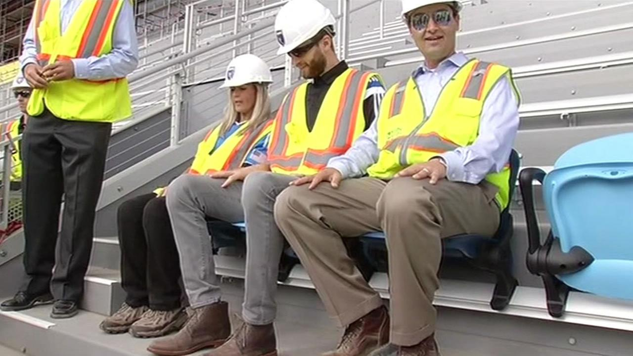 Fans sitting in new stadium