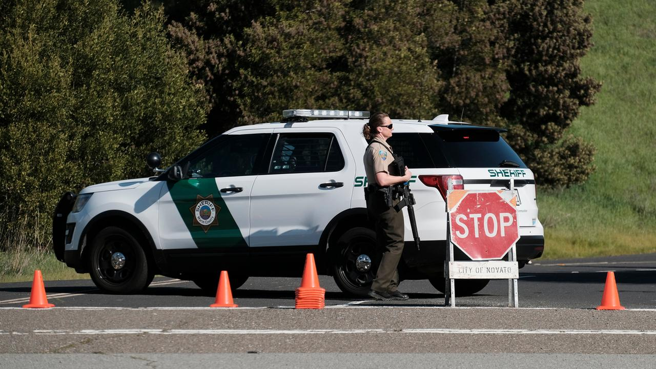A Marin County sheriffs deputy is seen in Novato, Calif. on Monday, March 12, 2018.