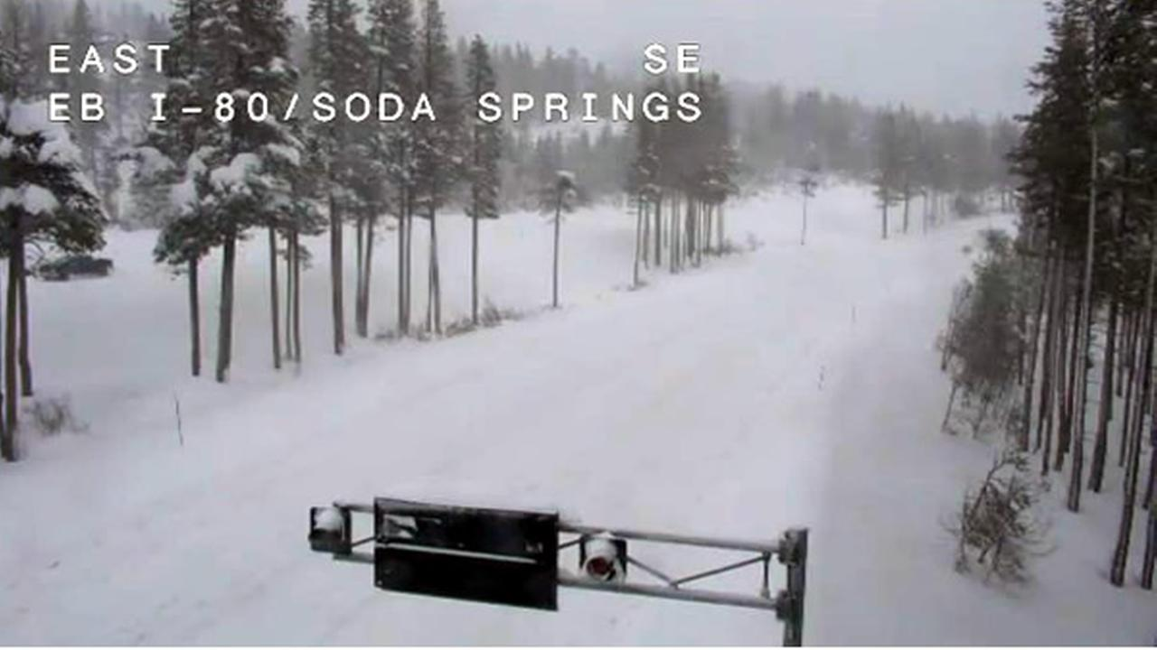 Both directions of I-80 are closed in Soda Springs due to heavy snowfall on Friday, March 16, 2018.