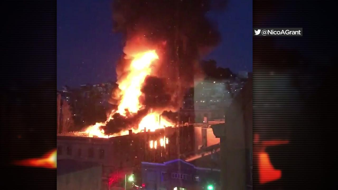 A fire erupted in San Franciscos North Beach on Saturday, March 18, 2018.