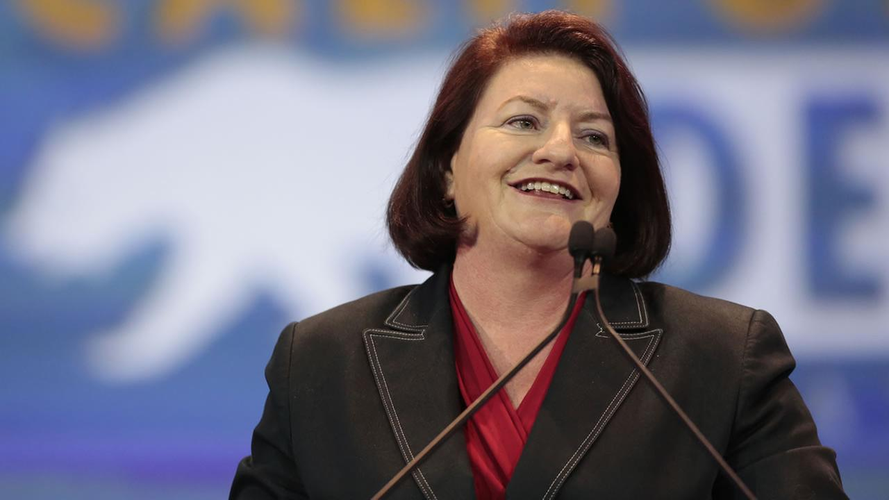 In this May 16, 2015, file photo, California Assembly Speaker Toni Atkins, D-San Diego, speaks at the California Democrats State Convention in Anaheim, Calif.