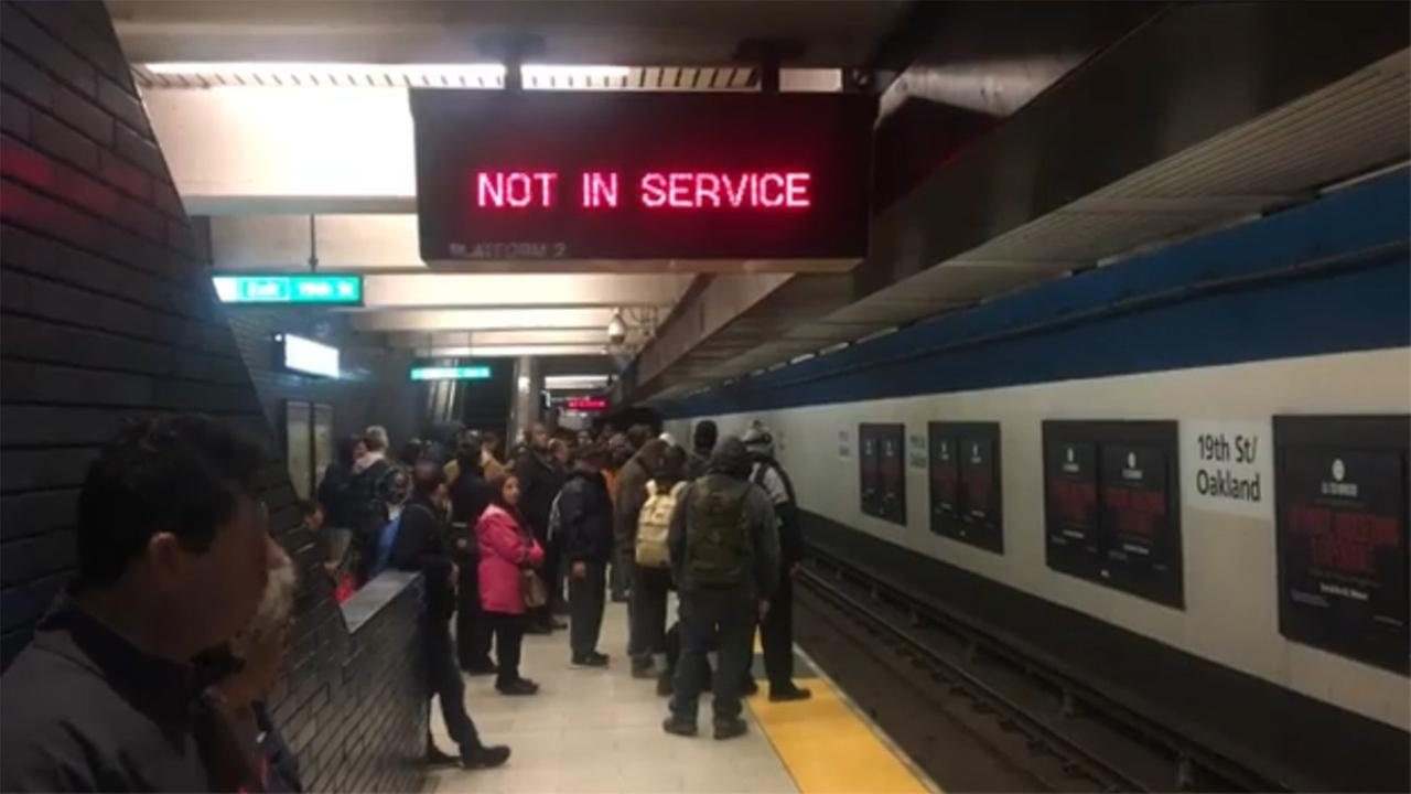 No service sign at BART station in Oakland, California on Tuesday, March 20, 2018.