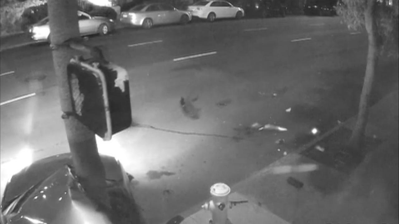 New surveillance video shows a car slamming into a pole in San Francisco on Tuesday, March 20, 2018.