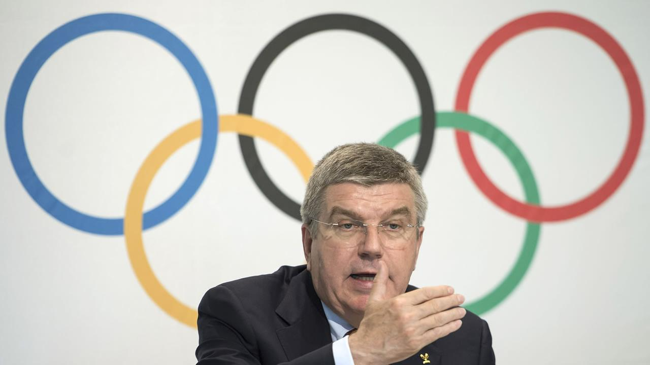 International Olympic Committee, IOC, President German Thomas Bach, speaks during a press conference after an executive board meeting, at the IOC headquarters, in Lausanne.