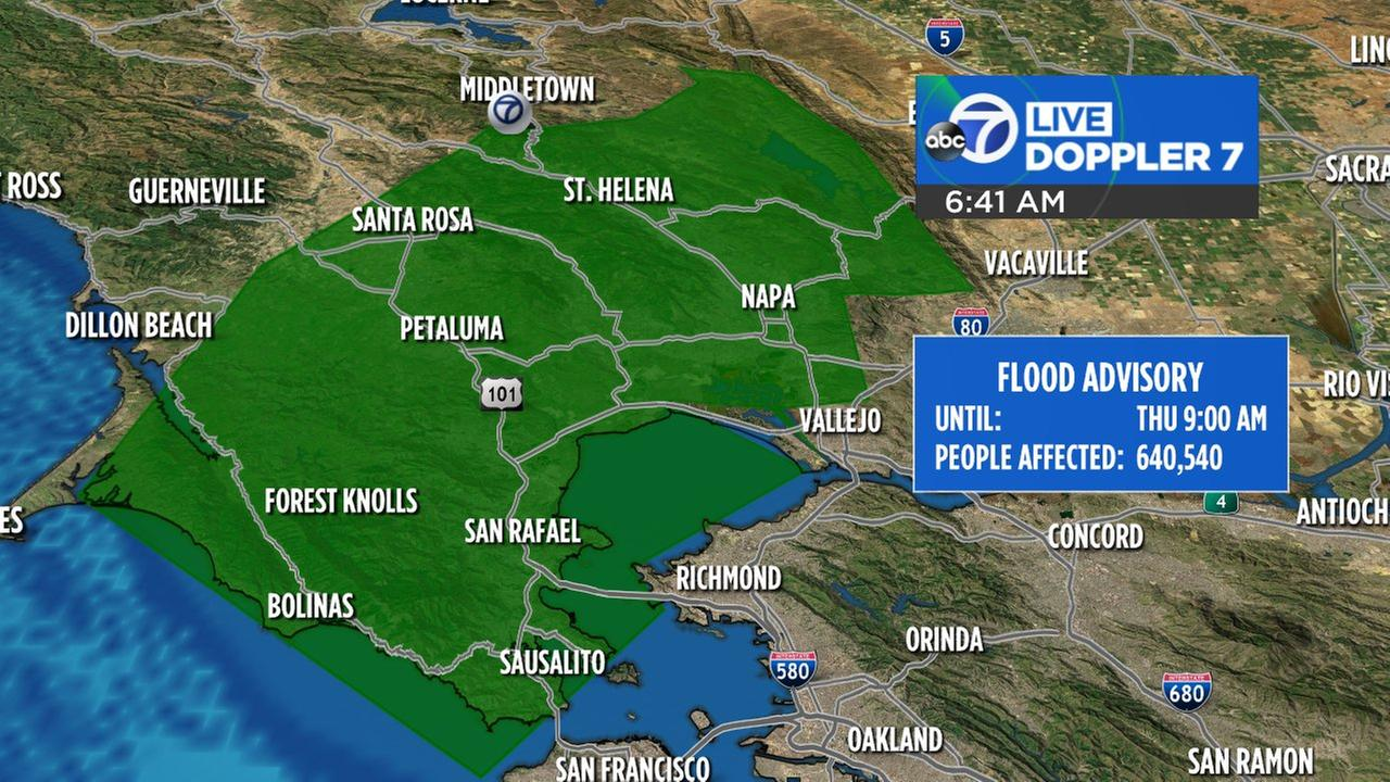 Flood Advisory for Marin County and Sonoma County.