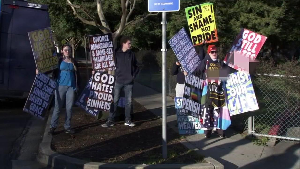 Westboro Baptist Church members picket outside Rancho Romero Elementary School in Alamo, Calif. on Tuesday, March 27, 2018.