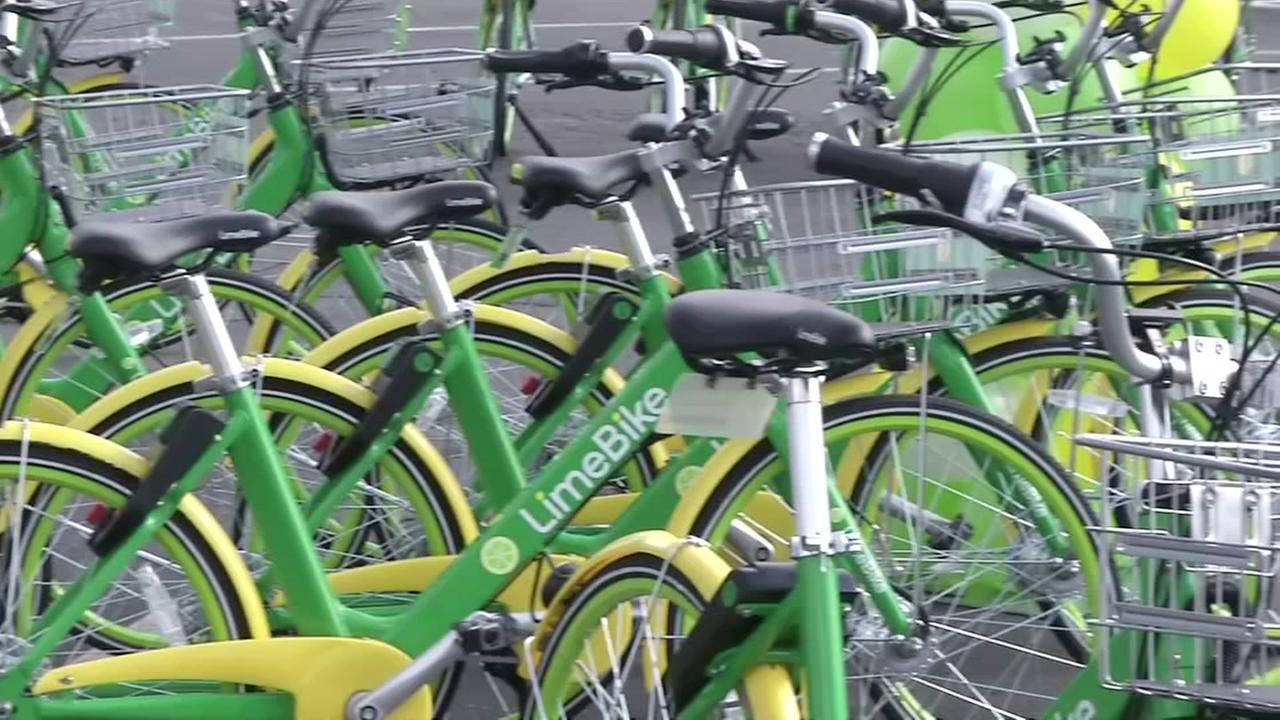 This is an undated image of LimeBikes.