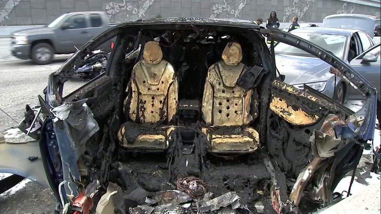 A burnt Tesla appears in Mountain View, Calif. in March of 2018.