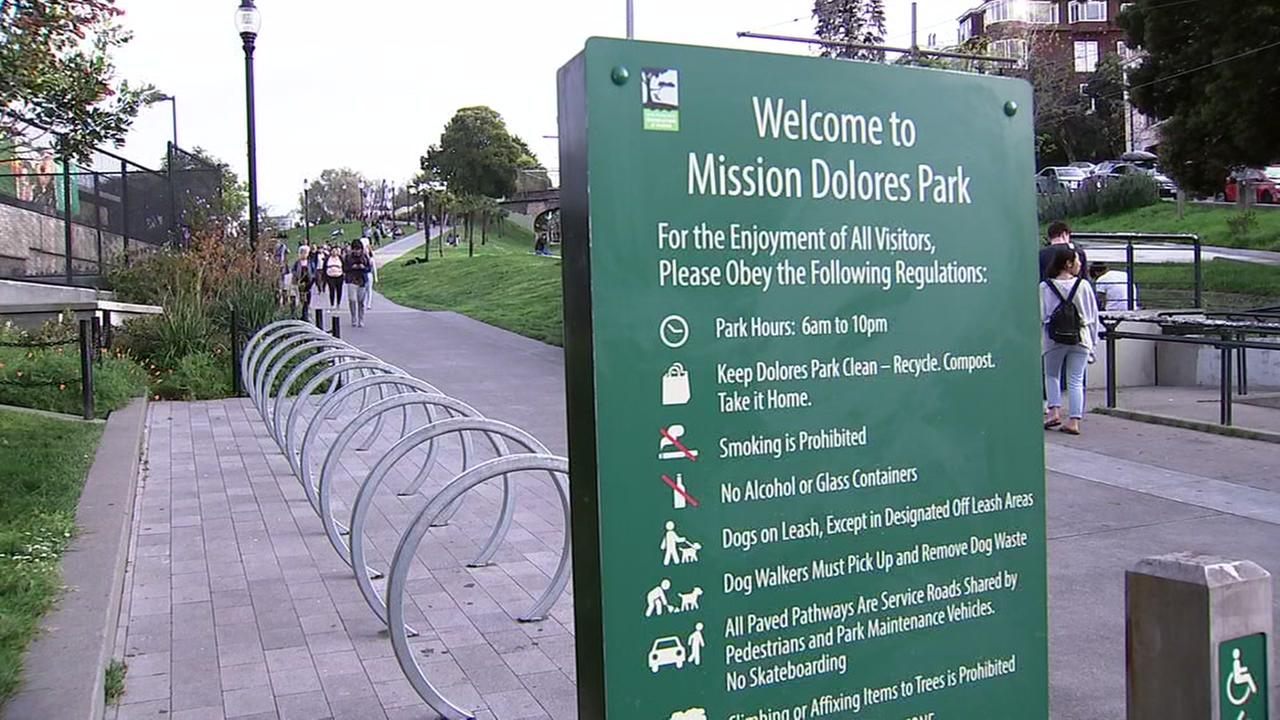 An enterance to Dolores Park appears on Friday, March 30, 2018.
