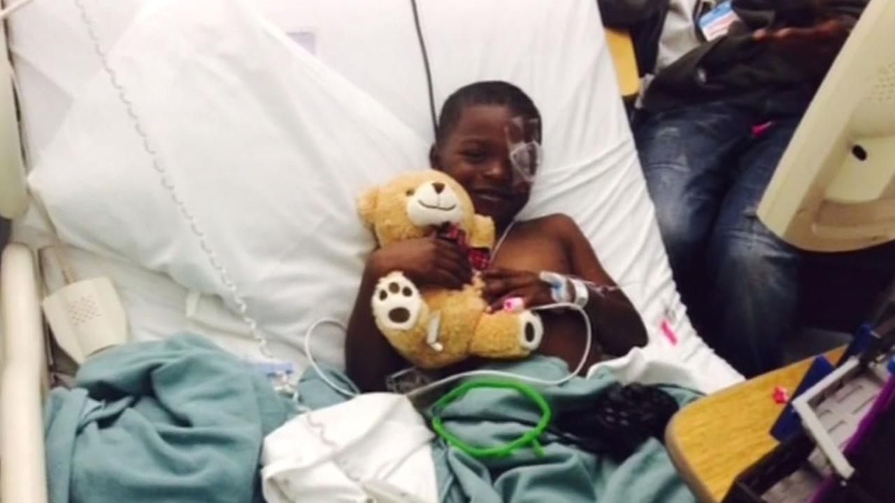 A 5-year-old Oakland boy is recovering after being shot in the eye with a paintball gun.