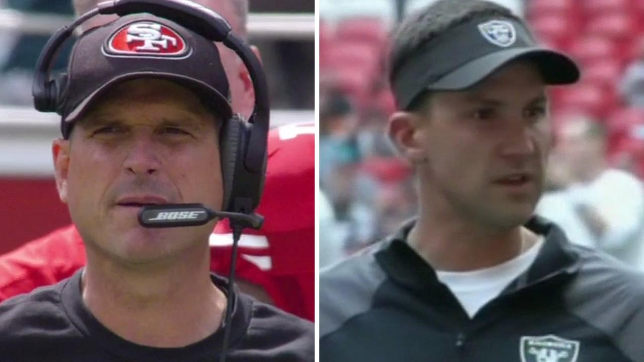 49ers Coach Jim Harbaugh and Raiders Coach Dennis Allen.