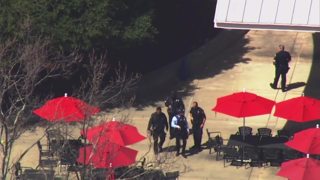 Police investigate a shooting on the back patio of YouTubes campus in San Bruno, Calif. on Tuesday, April 3, 2018.