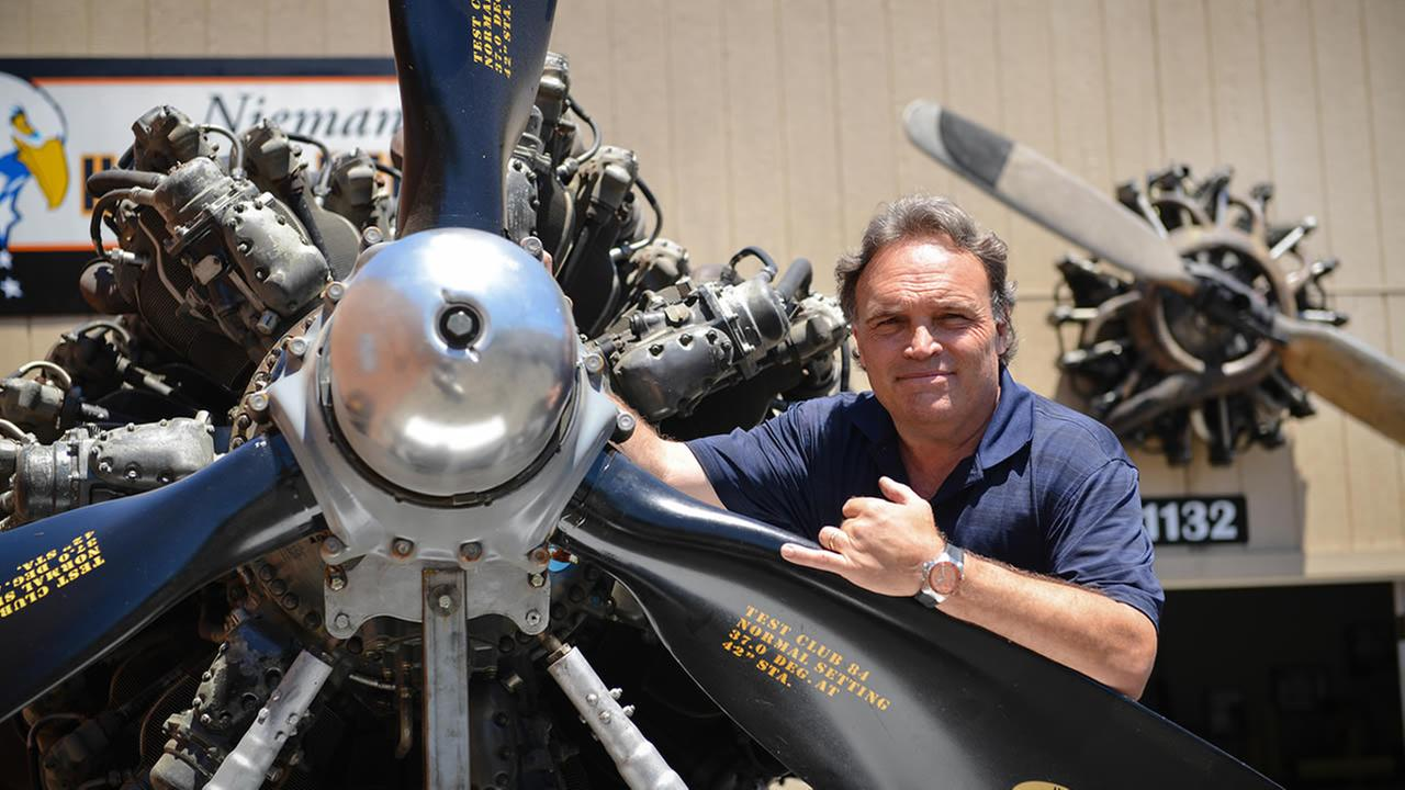 Mike Neiman and his engine from a B-36 bomber