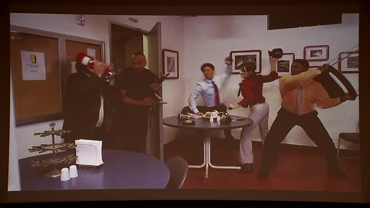 An instructional safety training video shows a procedure in this undated image.