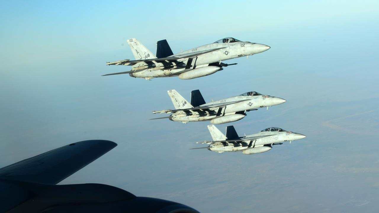 A formation of U.S. Navy F-18E Super Hornets that are part of the U.S. led airstrikes on ISIS.
