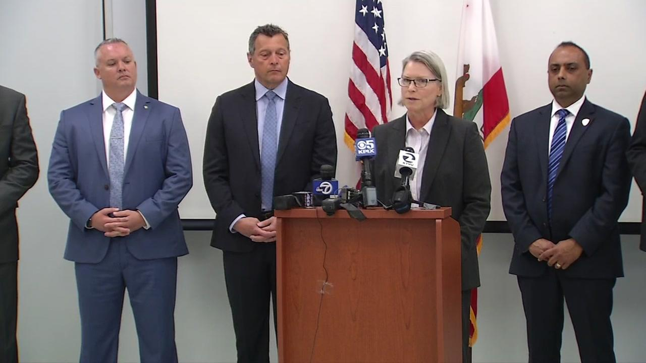 San Rafael Police Chief Diana Bishop is seen speaking at a press conference in Fairfield, Calif. on Monday, April 9, 2018.