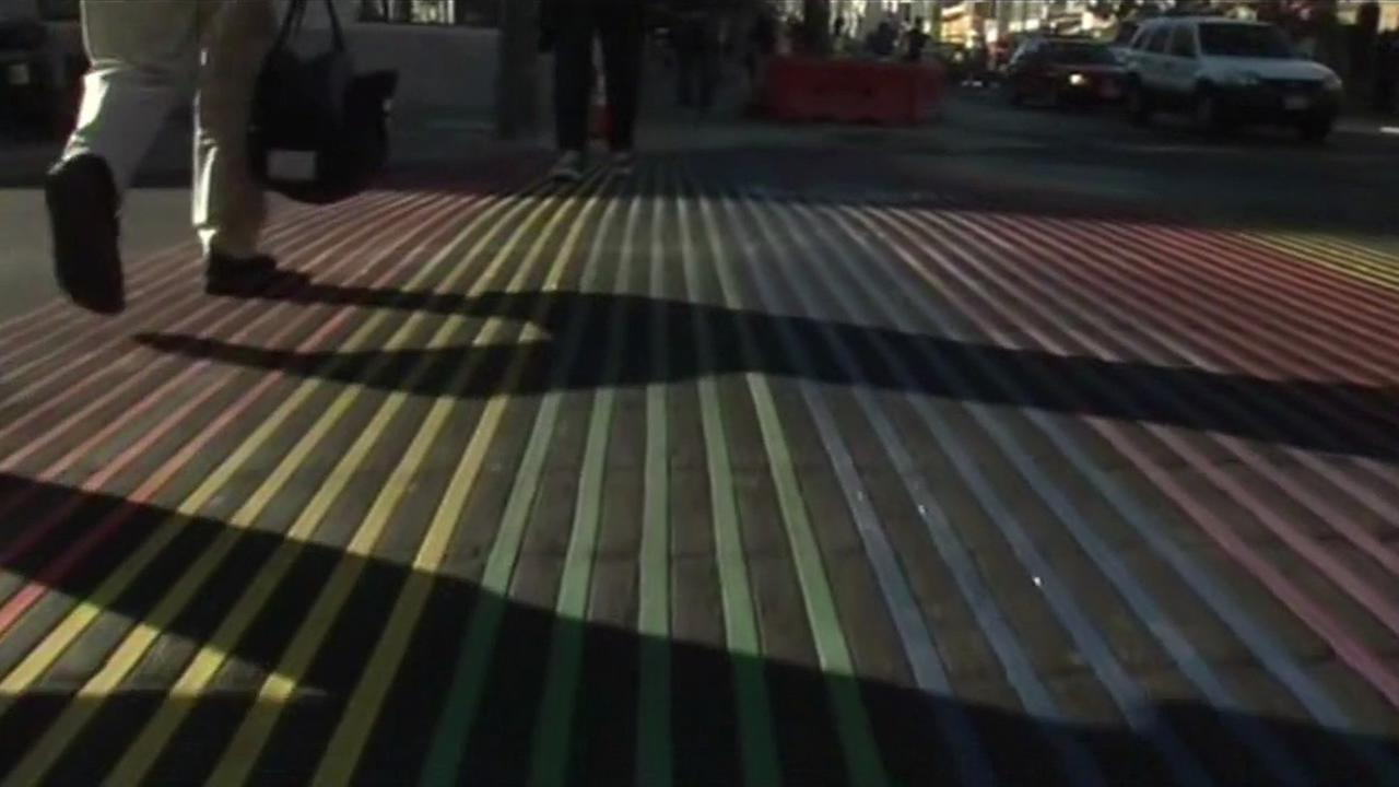 A rainbow cross walk in San Francisco