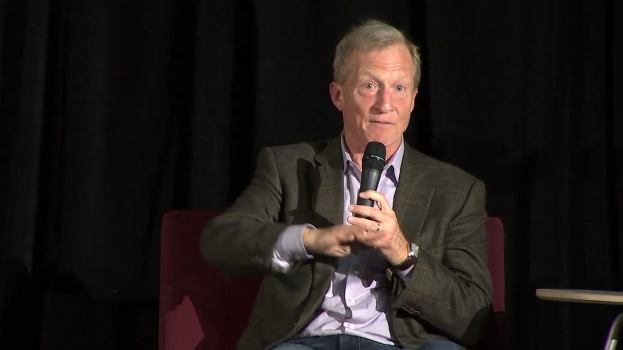 Tom Steyer is seen speaking at an event in Oakland, Calif. on Wednesday, April 11, 2018.