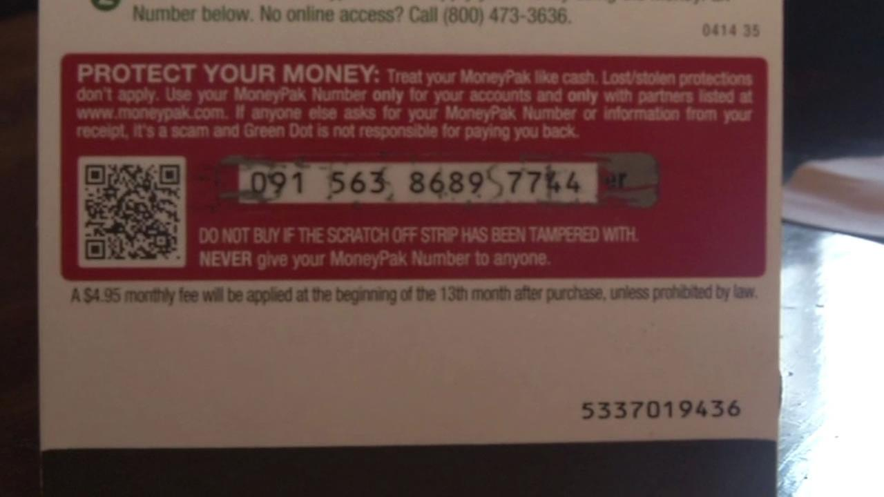 A pre-paid debit card that are targeted by scammers.