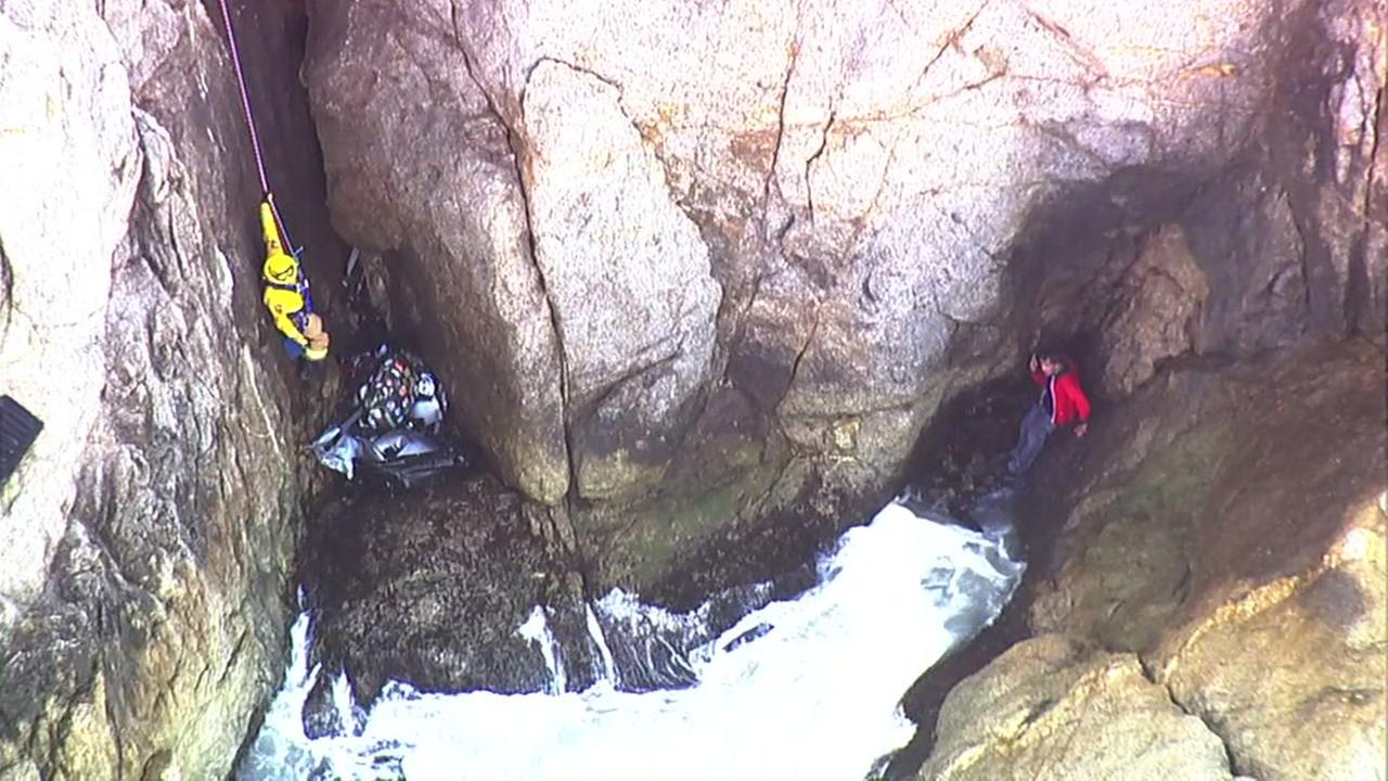 Man rescued off of cliff in Montara, California on Friday, April 13, 2018.