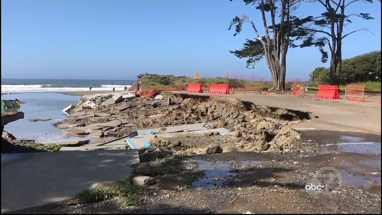 A heavily damaged portion of the parking lot is seen at Stinson Beach, Calif. in this undated image.