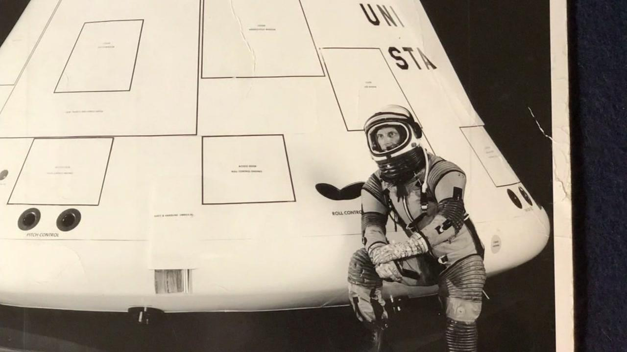 Wallace Johnson appears near one of the Apollo spacecraft in this undated image.