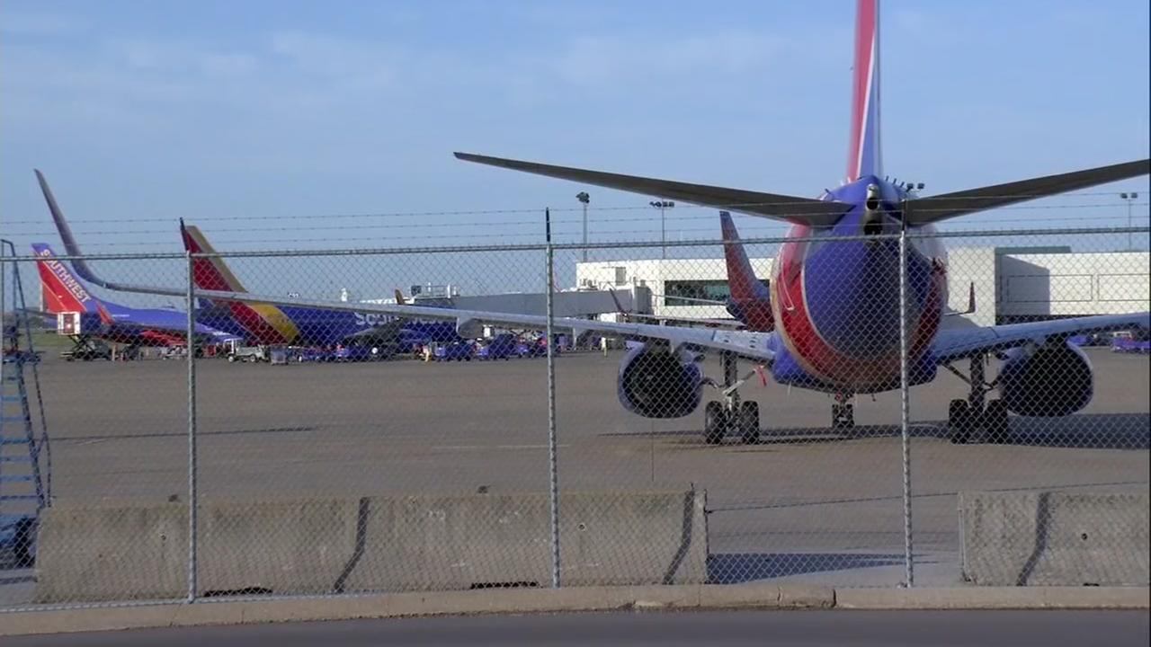 Southwest Airlines planes in Nashville, Tennessee on Wednesday, April 18, 2018.