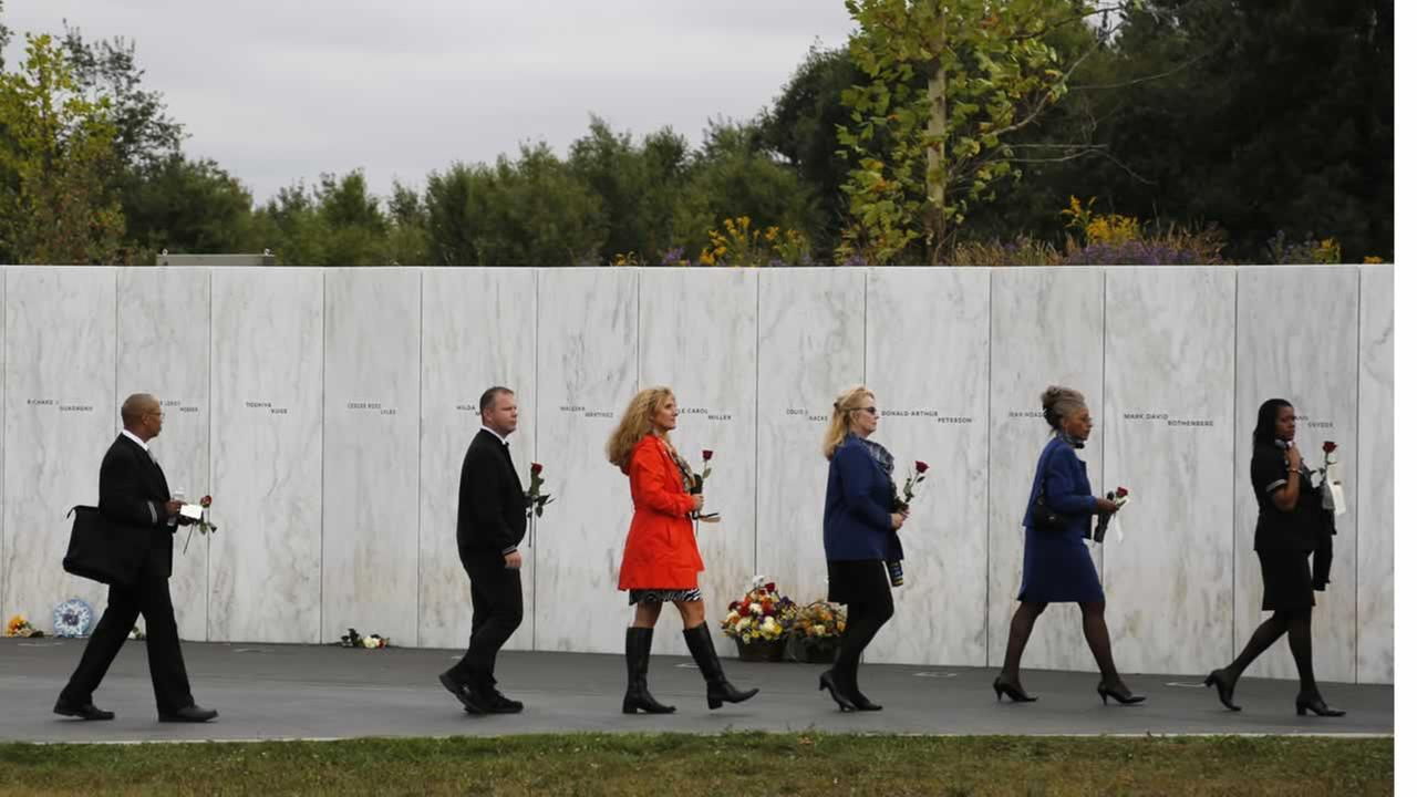 Sept. 11, 2104 photo of the Wall of Names at the Flight 93 National Memorial in Shanksville, Pa. where 40 people were killed in the September 11, 2001 terror attack.