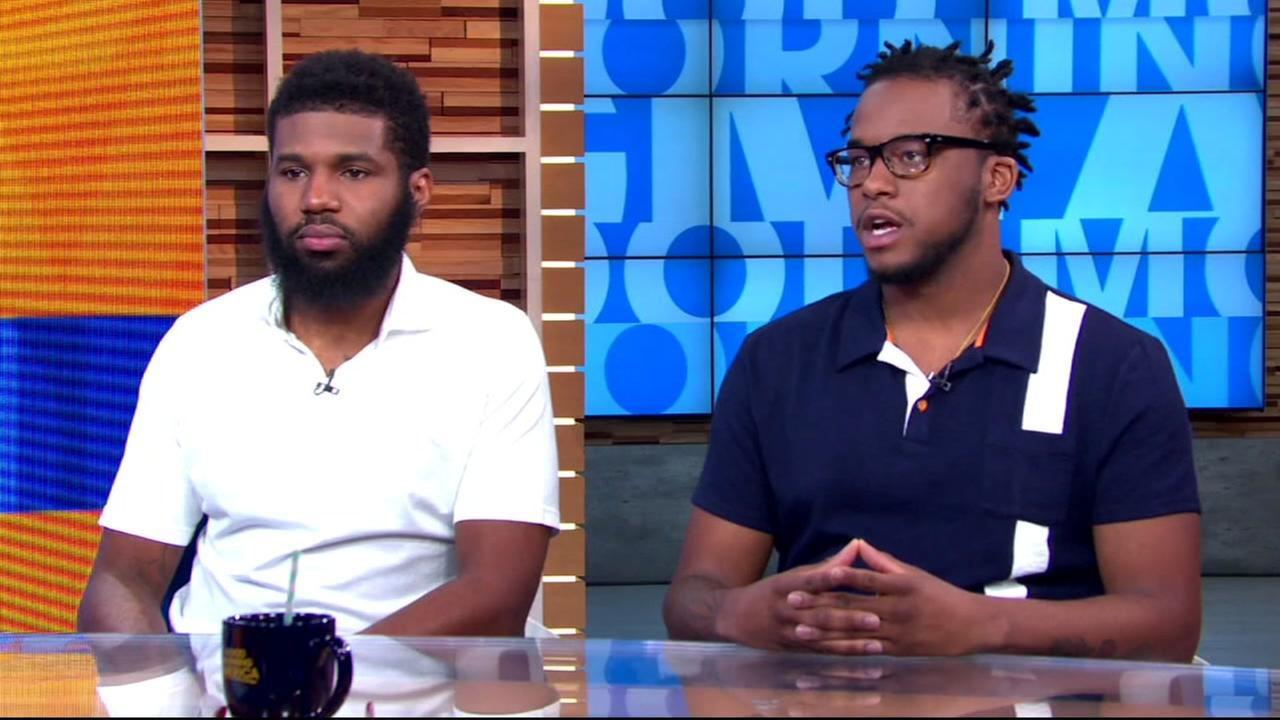 Rashon Nelson (left) and Donte Robinson (right) on Good Morning America in New York on Thursday, April 19, 2018.