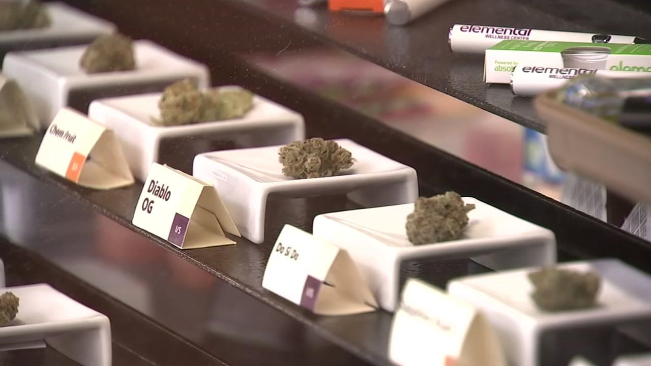 Pot buds appear in a San Jose shop on Friday, April 20, 2018.