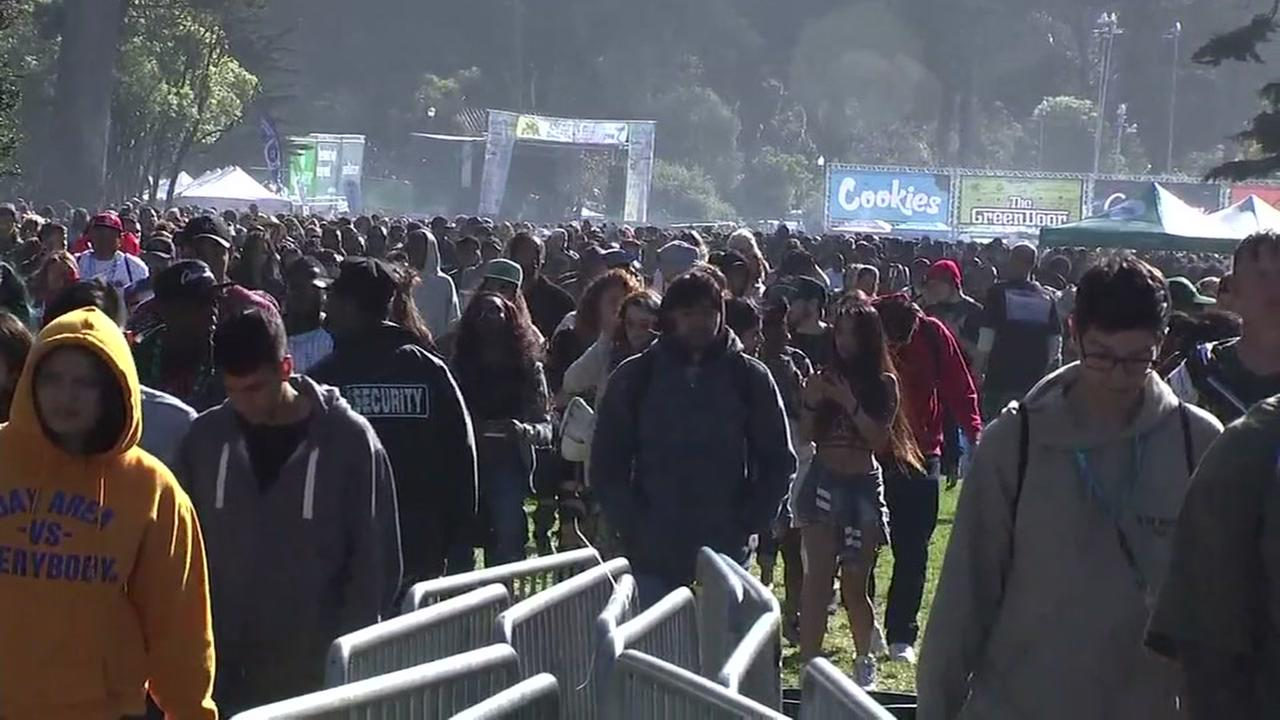 Cannabis enthusiasts attend the 4/20 celebration in San Francisco on Friday, April 20, 2018.