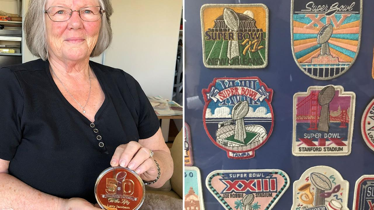 Joanell Jacobsen shows off some of her late husbands Super Bowl souvenirs from over the years in San Francisco on Monday, April 23, 2018.