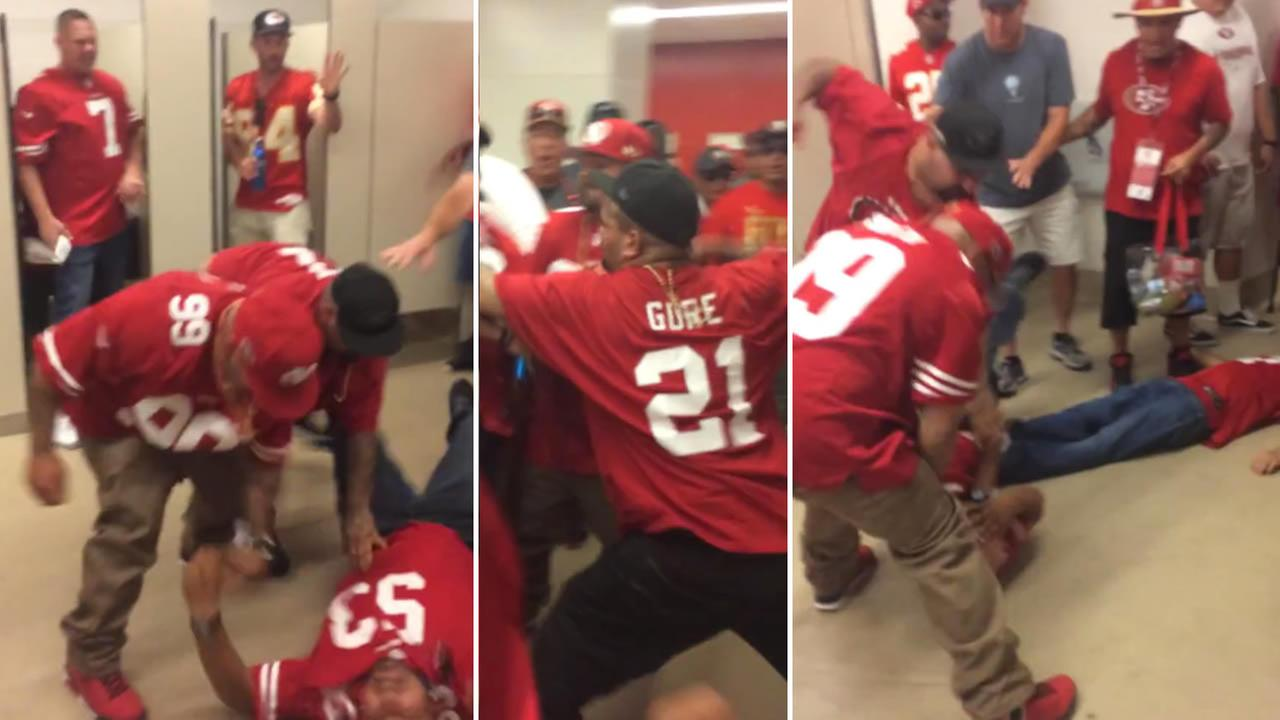 YouTube video shows a brawl in a bathroom at Levis Stadium just before kickoff at a San Francisco 49ers game.