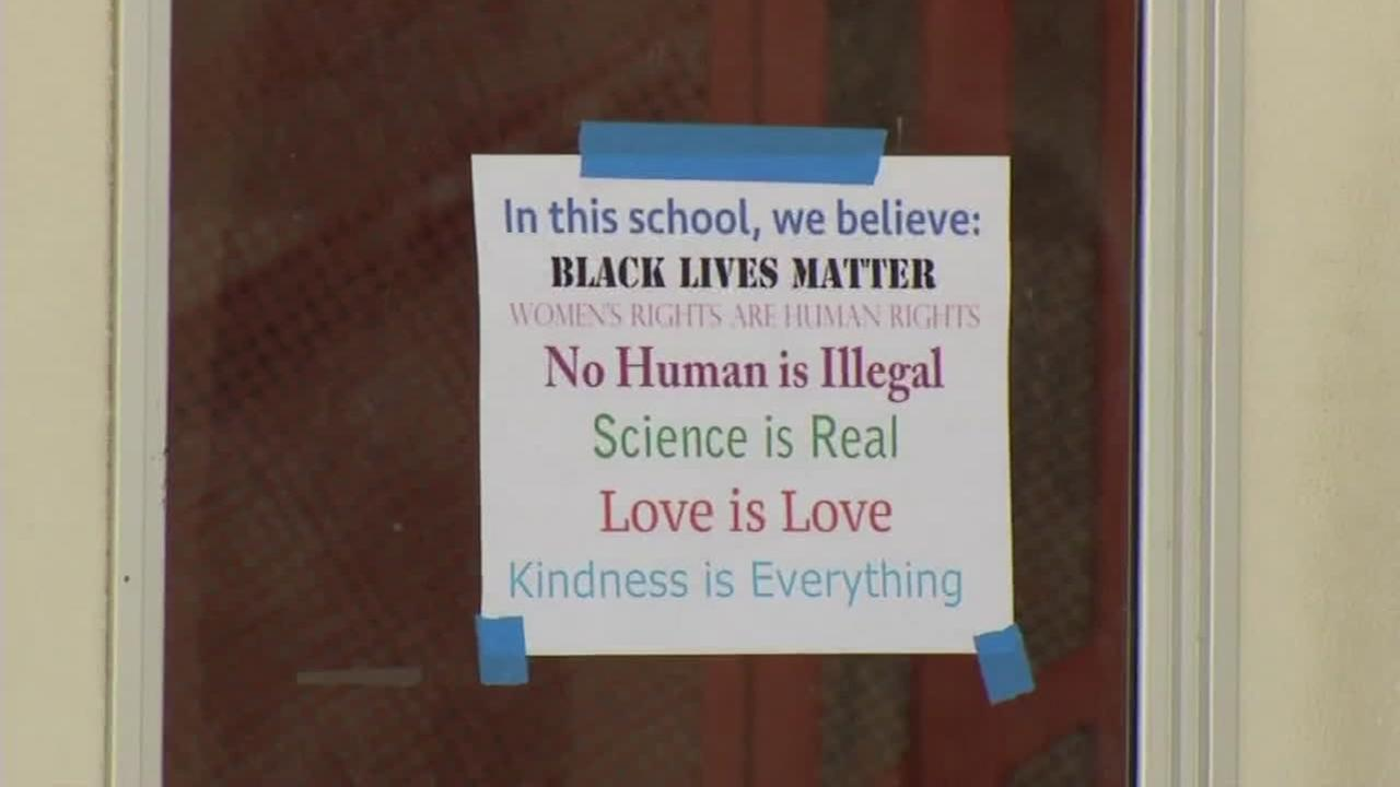 A sign appears at Albany High School in Albany, Calif. on Tuesday, April 24, 2018.