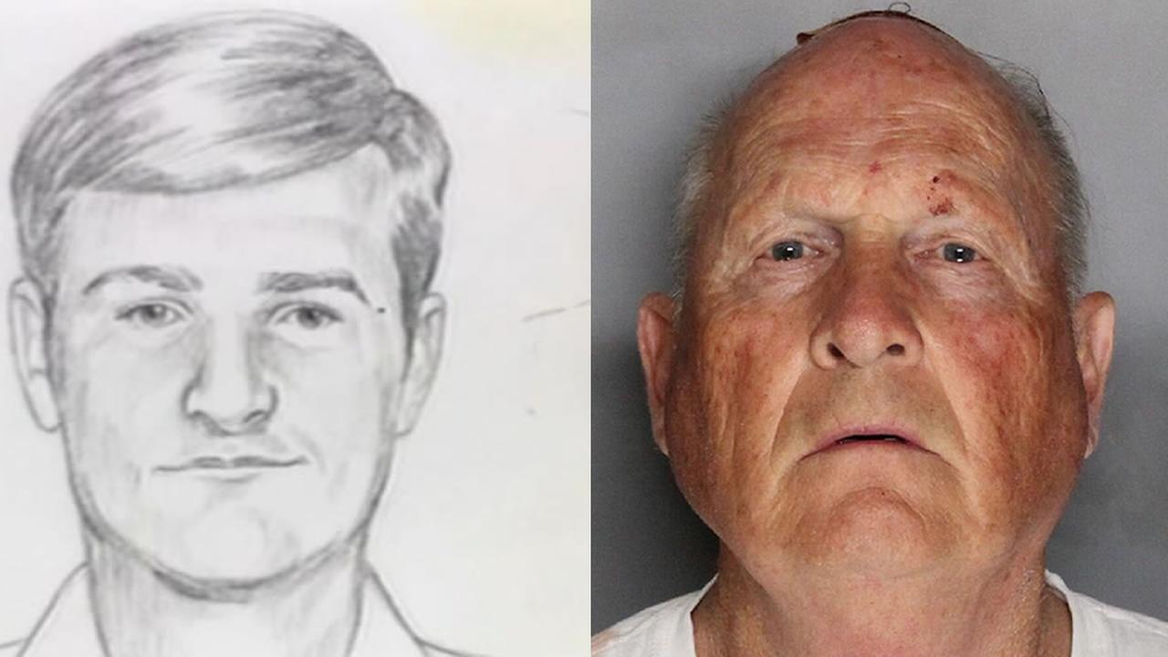 A sketch of the Golden State Killer is pictured next to a mugshot of the suspect, 72-year-old Citrus Heights resident Joseph James DeAngelo.